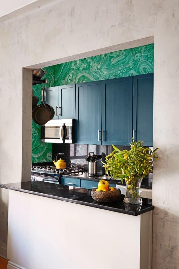 faux malachite galley kitchen