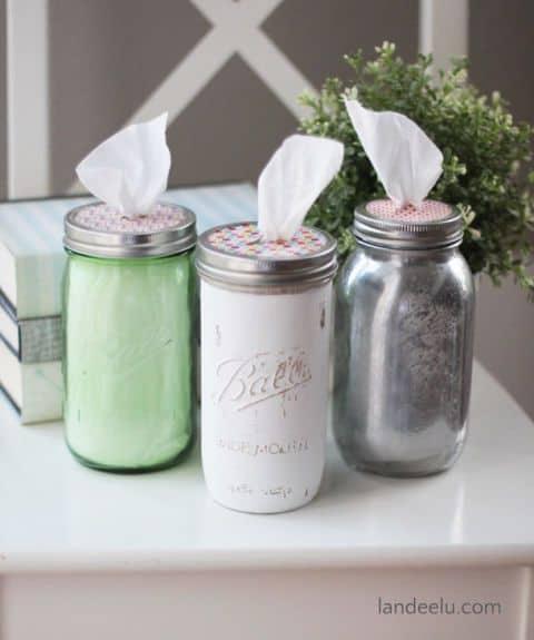porta pañuelos de papel con mason jars